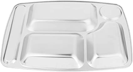 Stainless Steel 6 Divide Sectional Food Tray Plate Canteen Travel Ultralight