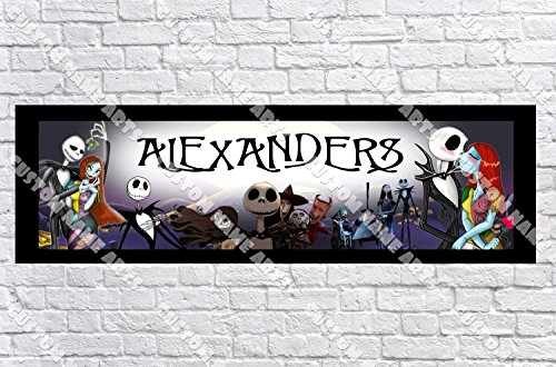 Personalized Nightmare Before Christmas Banner - Includes Color Border Mat, With Your Name On It, Party Door Poster, Room Art Decoration - Customize