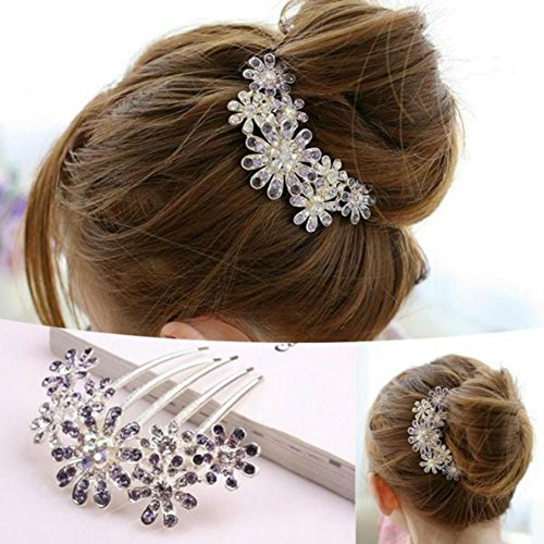 AKOAK Women Charm Crystal Rhinestone Decorate Petal Tuck Hair Comb Flower Pin Hair Clip,Hair Accessories Wedding Jewelry(Purple)