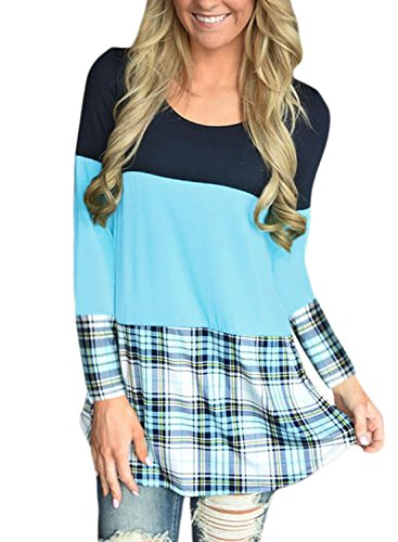Leindr Women Casual Crewneck Color Block Loose Fit Pullover T Shirt Long Sleeve Back Lace Plaid Print Hemline Tunic Blouse and Tops Light Blue XL 16 18 Lights And Lace Tee