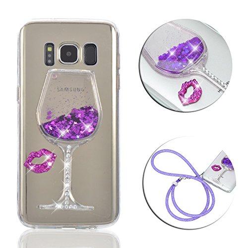 - Galaxy S8 Liquid Case Cover,Vandot 3D Luxury Creative Soft TPU Crystal Clear Liquid Quicksand Dynamic Floating Bling Glitter Sparkle Diamond Case Protective Skin for Samsung Galaxy S8 (2017)-Purple
