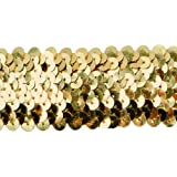 Expo International 10-Yard of 4-Row Metallic Stretch Sequin Trim, 1-1/2-Inch, Gold
