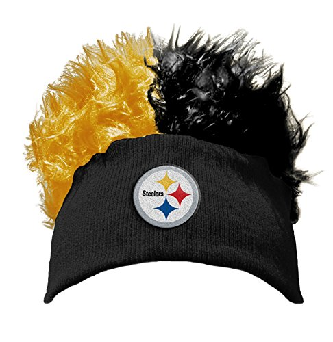 NFL Pittsburgh Steelers Flair Hair Knit Beanie Cap, Black/Yellow, One Size (Hats With Hair Attached)