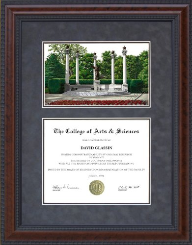 Diploma Frame with Licensed Ball State Campus Lithograph - 18 x 24 vertical (portrait) diploma