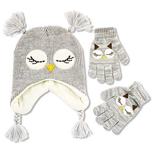ABG Accessories Little Girls Owl Critter Hat and Glove Cold Weather Set, Age 4-7