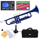 Mendini MTT-BL Blue Lacquer Brass Bb Trumpet + Tuner, Case, Stand, Mouthpiece, Pocketbook & More