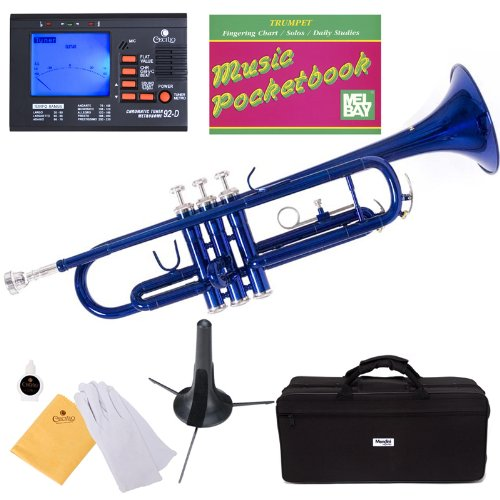 Music Instrument Trumpet (Mendini MTT-BL Blue Lacquer Brass Bb Trumpet + Tuner, Case, Stand, Mouthpiece, Pocketbook & More)