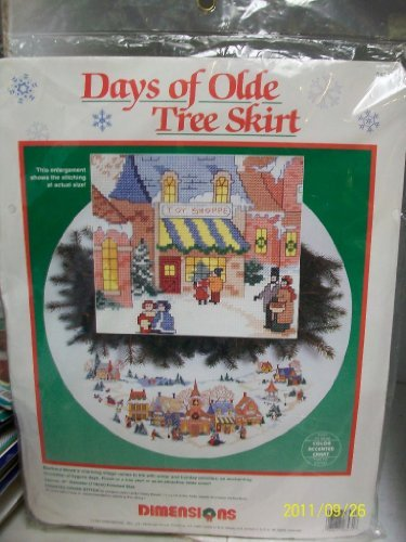 Days of Olde Tree Skirt -- Christmas Village Counted Cross Stitch Kit -- 45""