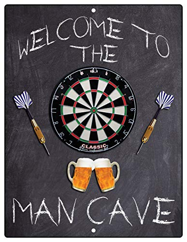 Import Wholesales Welcome to The Man Cave Dartboard Dart Home Bar Beers Aluminum Sign Indoor Outdoor Decorative Plaque 12