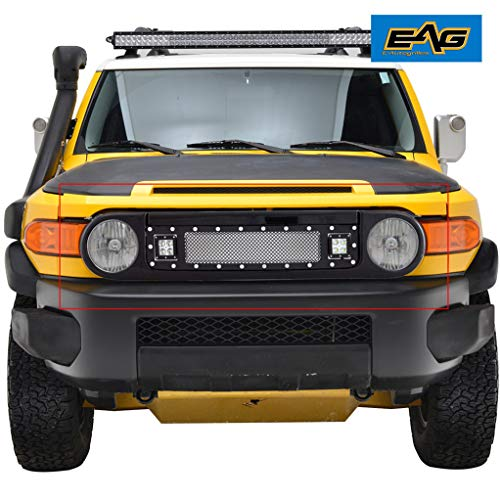 (EAG Evolution Grille Matte Black Stainless Steel Wire Mesh Packaged Grille with Two LED Lights Fit for 07-14 Toyota FJ)