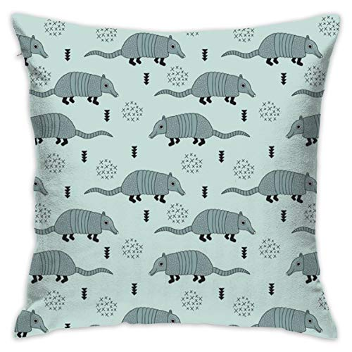 Cute Quirky Armadillo Cactus Woodland Fun Wester Theme Kids Animals Pattern Blue Flannel Decorative Square Pillow Cushion Cover Sofa Home Decor Modern 18 X 18 inch(45 X 45 -