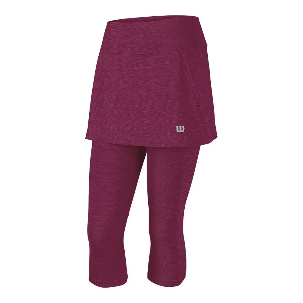 Wilson, gonna da tennis con pantaloni Capri Rush, da donna, di colore rosso, disponibile in tutte le taglie, Rot, Piccolo