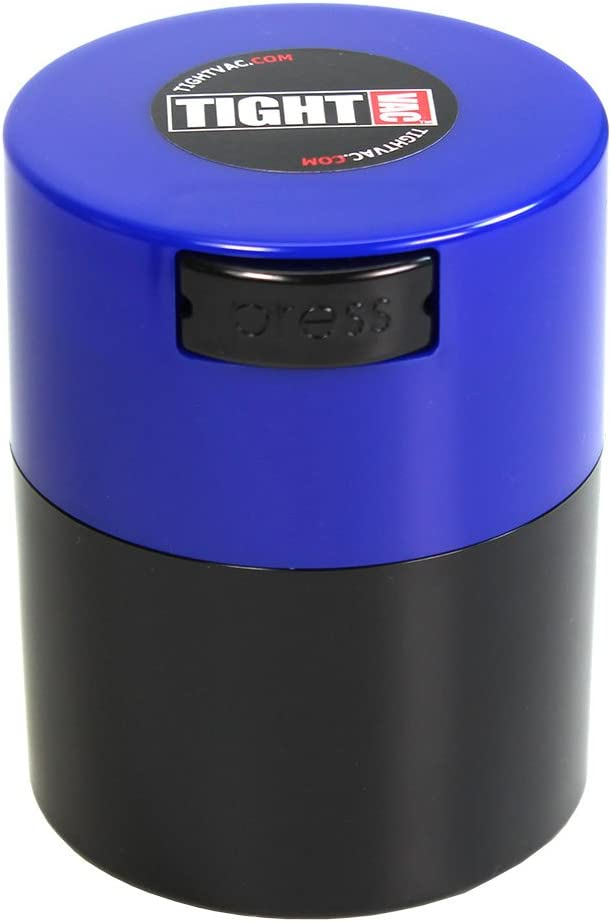 Tightvac - 1/2 oz to 3 Ounce Vacuum Sealed Container - Dark Blue Cap & Black