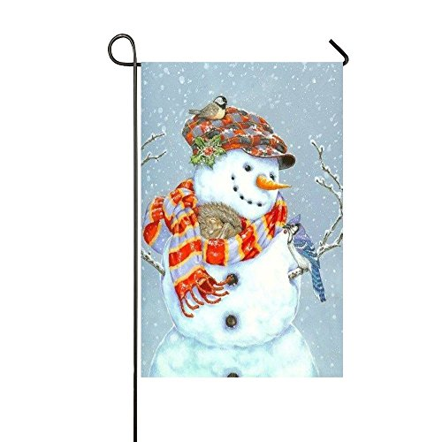 Small Mim Cat Sleep In The Snowman's Scarf Garden Flag Holiday Decoration Double Sided Flag 28 x 40 Inch (Cat Snowman Holiday)