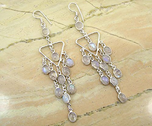 12.10ctw, 5x7 Oval Genuine Rainbow Moonstone & 925 Silver Plated Dangle Earrings