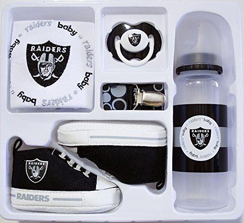 Baby Essentials NFL Infant 5 Piece Infant Baby Gift Box Set (Oakland Raiders)