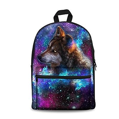 lovely UNICEU Galaxy Animal Print Canvas School Backpack Bag Bookbag for Teen Girls Boys
