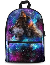 Galaxy Animal Print Canvas School Backpack Bag Bookbag for Teen Girls Boys