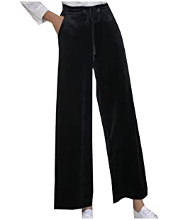 Tootlessly Women Drawstring Velvet Solid Color Pocket Palazzo Trousers Black XS