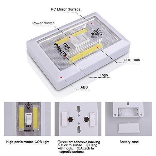 Vibelite battery operated led night lights cob led for Battery led lights under kitchen cabinets