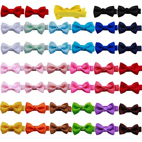 Angla 40PCS Pack 2quot Mini Pigtail Ponytail Holder Bow Hair Clips Fully Lined Grosgrain Ribbon Small Tiny Bow Tie Hair Clips Hair Barrettes Pins Accessories for Baby Girl Toddler Kids