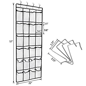 HBlife Over the Door Hanging Shoe Organizer, 24 Large Mesh Pockets Shoe Storage with 4 Metal Hooks, White