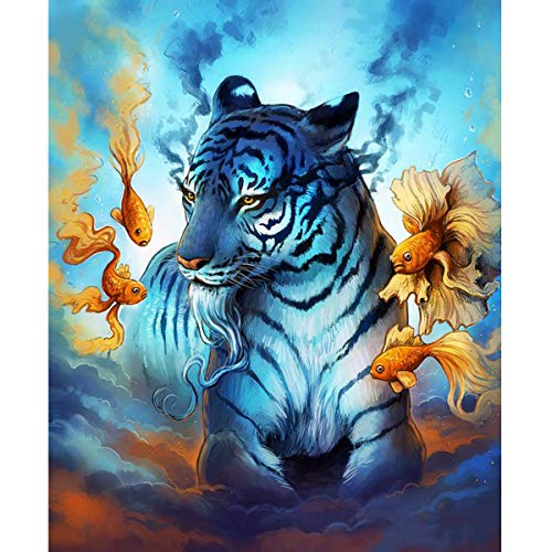 DIY 5D Diamond Painting Full Round Drill Kits Rhinestone Picture Art Craft for Home Wall Decor 12x16In Tiger and Goldfish ()