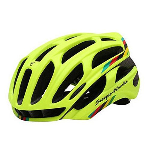 Cycling Helmet Road Mountain In-mold Bicycle Helmet Ultralight Bike Helmet With LED Warning Lights (Matte Fluo Geen, L)