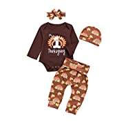 Mikrdoo Baby First Thanksgiving Outfits Letters Print Bodysuit + Turkey Pants + Hat 3pcs Clothes Set (0-3 Months, B)