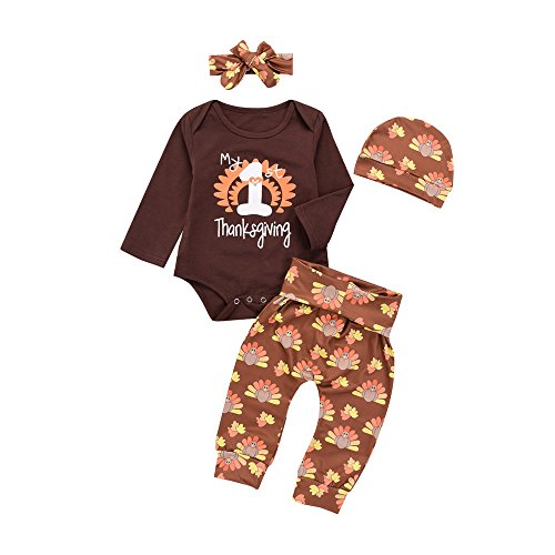 4pcs Baby Boy Girl Christmas Outfit Romper Pants Leggings Hat Clothes Set - 3