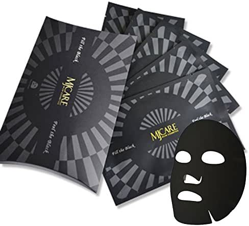 Set of 5, The Elixir Beauty MJ Care Premium Charcoal Collagen Black Mask Sheet, Brightening and Pore Minimizing, 25g