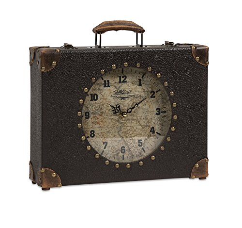Imax 68171 World Map Suitcase Clock (Clock Old World Map)