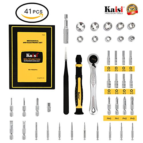 Kaisiking 1/4-Inch Drive Micro Ratchet Wrench Offset Screwdriver Bit Set with Metric Socket Sets, Hex Nut Drive Bits, Free-Rotating Base Screwdriver Handle, Quick-Release Extension Bar, ESD ()