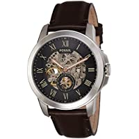 Men's ' Mechanical Hand Wind Stainless Steel and Leather Casual Watch, Color:Brown (Model: ME3095)