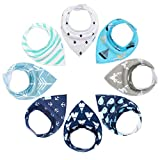 Baby Bandana Drool Bibs for Boys Girls 8 Pack Teething and Drooling by YOOFOSS