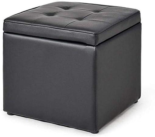 ZBYY Almacenamiento Puf Otomano Asiento Taburete Caja Negro Multifunción PU Cuero Reposapiés MAX 100KG,40 * 40 * 40cm: Amazon.es: Hogar