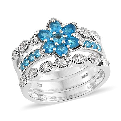 925 Sterling Silver Platinum Plated 1.8 Cttw Oval Neon Apatite, Multi Gemstone Stackable Gift Ring Size ()