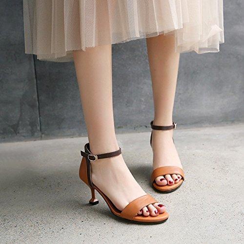 Jqdyl High Heels Weibliche Sandalen Sommer Fischmaul Fine High Heel Buckle Damenschuhe  39|Brown