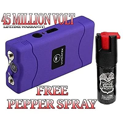 Hot Sale! Purple 45 Million Volt Stun Gun LED Light Free Pepper Spray & Free taser Holster