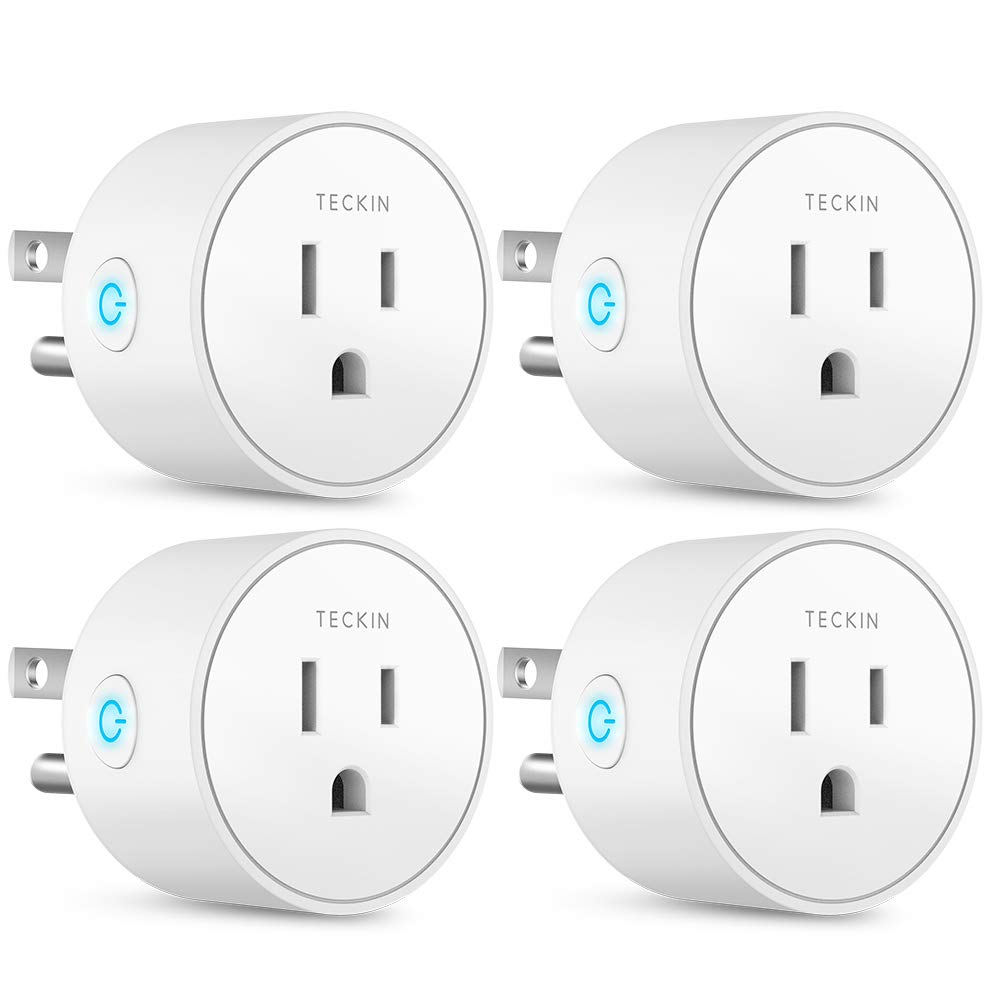 Smart Plug Mini Outlet Compatible with Amazon Alexa and Google Assistant, TECKIN Wifi Enabled Remote Control Smart Socket with Timer Function, No Hub Required,White, 4 Pack T TECKIN