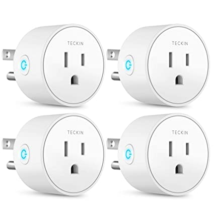 Smart Plug Works with Alexa Google Assistant IFTTT for Voice Control,  Teckin Mini Smart Outlet Wifi plug with Timer Function, No Hub Required,  White