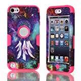 Lantier For iPod Touch 5 Case,Hybrid 3 Layers Hard Cover with Silicone Shell Inside Case Plastic TUFF Camo Triple Quakeproof Drop Resistance Protective for iPod Touch 5 5th Generation with Screen Protector and Stylus Pen Dreamcatcher/Hot Pink