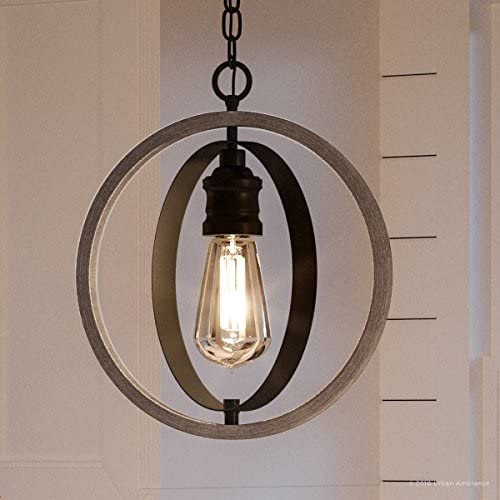 Luxury Vintage Pendant Light, Large Size 14 H x 12 W, with Modern Farmhouse Style Elements, Charcoal Finish, UHP2214 from The Anchorage Collection by Urban Ambiance