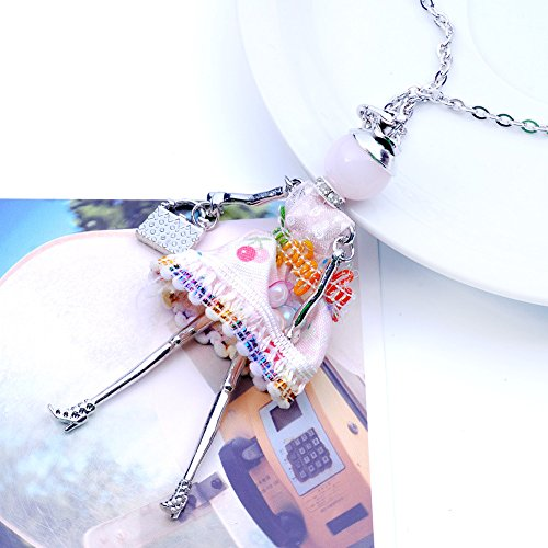 nl005759 Multicolor Cute Long Necklace Handmade Flower with Girl Dress Lureme Doll Chain Little 4wA7HHx