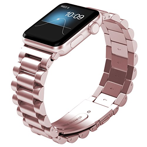 NO1seller Top Thin Light Stainless Steel 38mm Band Strap Bracelet Replacement with Butterfly Clasp for Apple Watch Series 1, Series 2, Series 3 - SemiCircle-Rose Gold