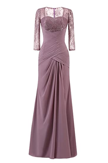 20fbd30fa0f Drasawee Women s Perspective 3 4 Sleeve Prom Party Dress Ruching Maxi  Evening Wedding Ball Gowns