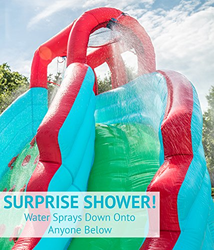 Deluxe Inflatable Water Slide Park – Heavy-Duty Nylon Bouncy Station for Outdoor Fun - Climbing Wall, Two Slides & Splash Pool – Easy to Set Up & Inflate with Included Air Pump & Carrying Case by Sunny & Fun (Image #2)