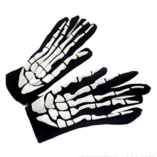 EraseSIZE Halloween Horror Skull Claw Bone Skeleton Goth Racing Full Gloves -