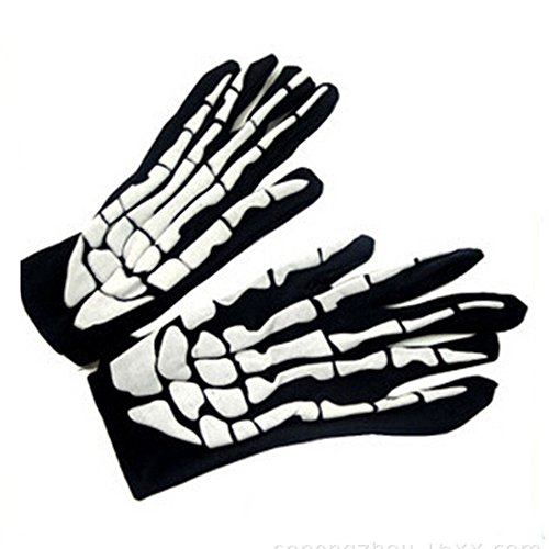 Halloween Decorations Sale,KIKOY Horror Skull Claw Bone Skeleton Goth Racing Full Gloves (A) -
