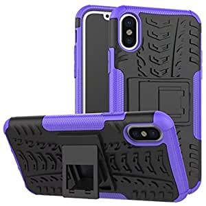 iPhone X Case, DMX Armor cases Tough Rugged Shockproof Dual Layer Hybrid Hard/Soft Slim Protective Stent function Case For iPhoneX (Purple)